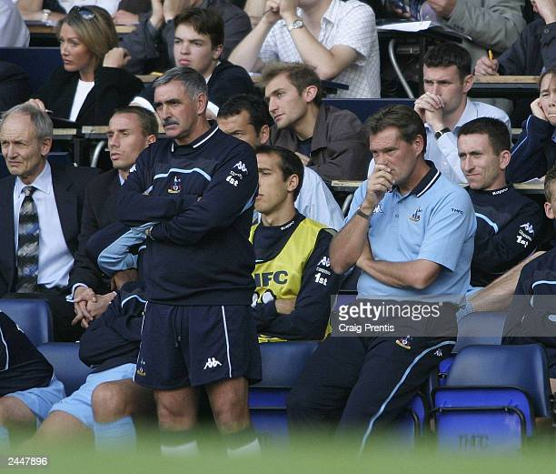 Spurs manager Glenn Hoddle and Assistant John Gorman look troubled by Spurs poor performance during the FA Barclaycard Premiership match between...