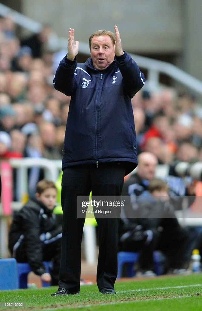 Spurs manager Harry Redknapp gestures during the Barclays Premier League match between Newcastle United and Tottenham Hotspur at St James' Park on January 22, 2011 in Newcastle upon Tyne, England.