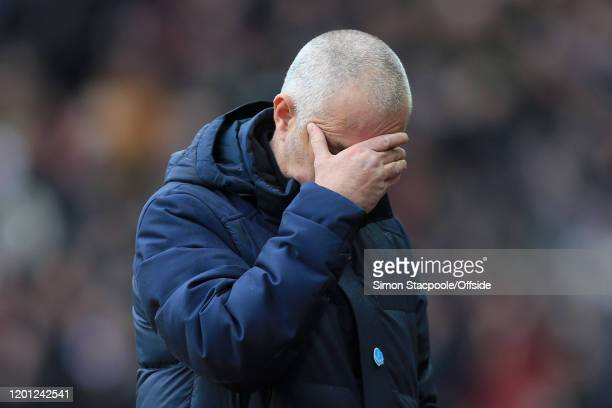 Spurs manager Jose Mourinho looks dejected during the Premier League match between Aston Villa and Tottenham Hotspur at Villa Park on February 16,...