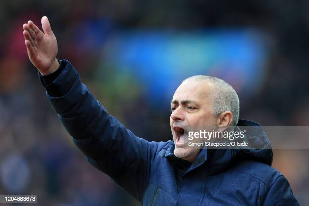 Spurs manager Jose Mourinho shouts and gestures during the Premier League match between Aston Villa and Tottenham Hotspur at Villa Park on February...