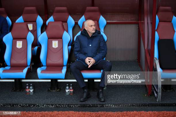 Spurs manager Jose Mourinho sits alone in the dugout before the Premier League match between Aston Villa and Tottenham Hotspur at Villa Park on...