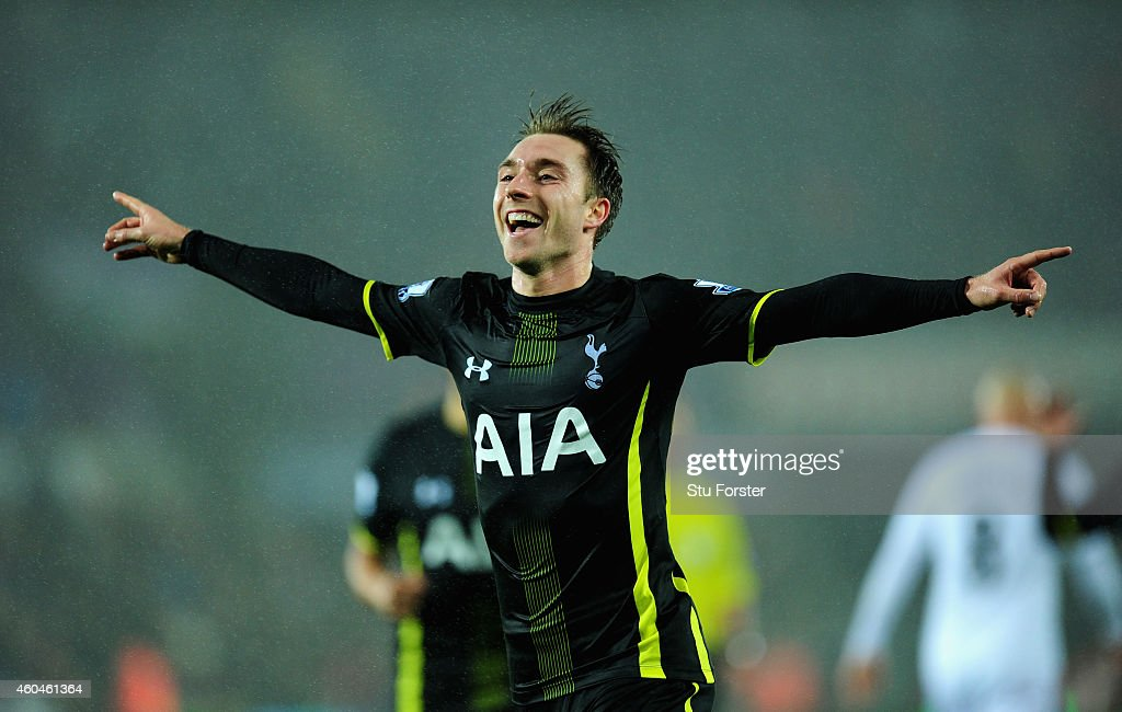 Spurs player Christian Eriksen celebrates after scoring the second Spurs goal during the Barclays Premier League match between Swansea City and Tottenham Hotspur at Liberty Stadium on December 14, 2014 in Swansea, Wales.