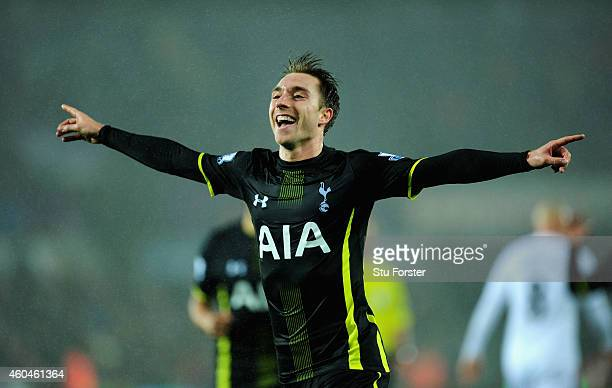 Spurs player Christian Eriksen celebrates after scoring the second Spurs goal during the Barclays Premier League match between Swansea City and...