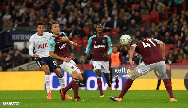 Spurs player Dele Ali's shot takes a deflection off West Ham defender Declan Rice for the second Spurs goal during the Carabao Cup Fourth Round match...
