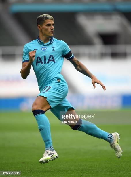Spurs player Eric Lamela in action during the Premier League match between Newcastle United and Tottenham Hotspur at St James Park on July 15 2020 in...