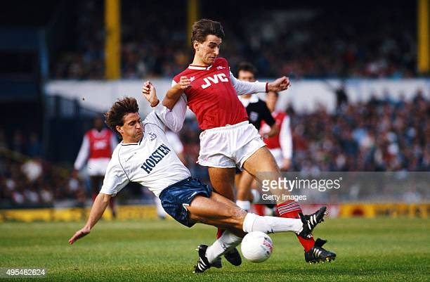 Spurs player Gary Mabbutt challenges Arsenal striker Alan Smith during a League Division One match between Tottenham Hotspur and Arsenal at White...