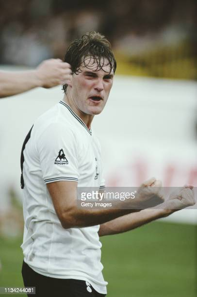 Spurs player Glenn Hoddle celebrates after scoring a goal during a First Division match at Vicarage Road between Watford and Tottenham Hotspur on...