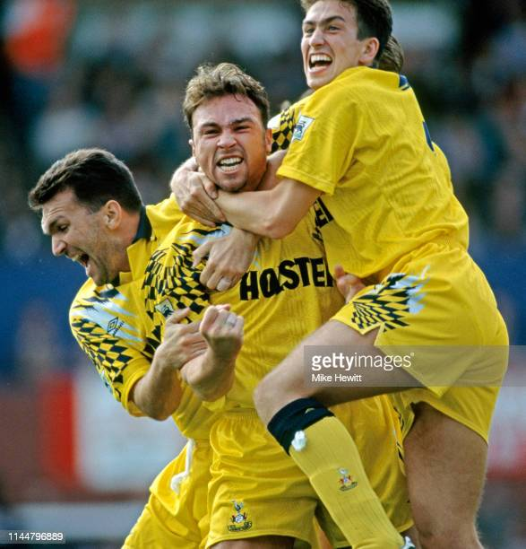 Spurs player Jason Cundy is congratulated by Neil Ruddock and Justin Edinburgh after scoring a goal from just inside the Ipswich half during an FA...
