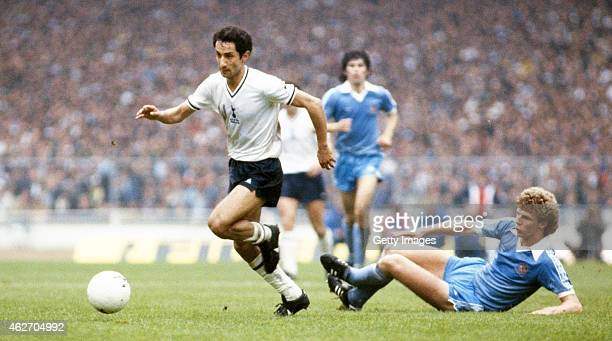 Spurs player Osvaldo Ardiles skips the challenge of Man City defender Tommy Caton during the 1981 FA Cup Final replay between Tottenham Hotspur and...
