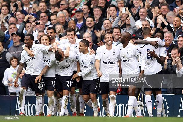 Spurs players celebrate after Kyle Walker of Spurs scored their second goal from a freekick during the Barclays Premier League match between...