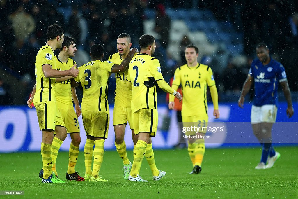 Spurs players celebrate after the Barclays Premier League match between Leicester City and Tottenham Hotspur at The King Power Stadium on December 26, 2014 in Leicester, England.