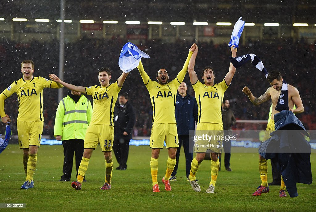 Spurs players celebrate after the Capital One Cup Semi-Final Second Leg match between Sheffield United and Tottenham Hotspur at Bramall Lane on January 28, 2015 in Sheffield, England.