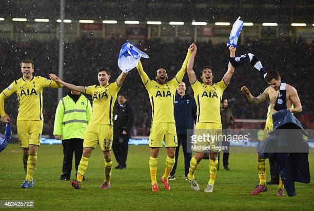 Spurs players celebrate after the Capital One Cup SemiFinal Second Leg match between Sheffield United and Tottenham Hotspur at Bramall Lane on...