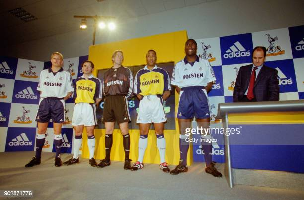Spurs players from left to right Steffen Iversen Stephen Carr Ian Walker Les Ferdinand Sol Campbell and manager George Graham pictured at the launch...
