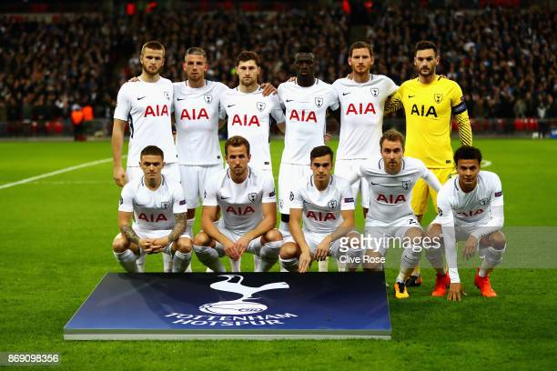 Spurs players line up prior to the UEFA Champions League group H match between Tottenham Hotspur and Real Madrid at Wembley Stadium on November 1...