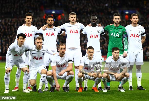 Spurs players line up prior to the UEFA Champions League Round of 16 Second Leg match between Tottenham Hotspur and Juventus at Wembley Stadium on...