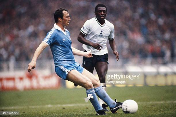 Spurs striker Garth Crooks challenges Man City fullback Bobby McDonald during the 1981 FA Cup Final between Tottenham Hotspur and Manchester City at...