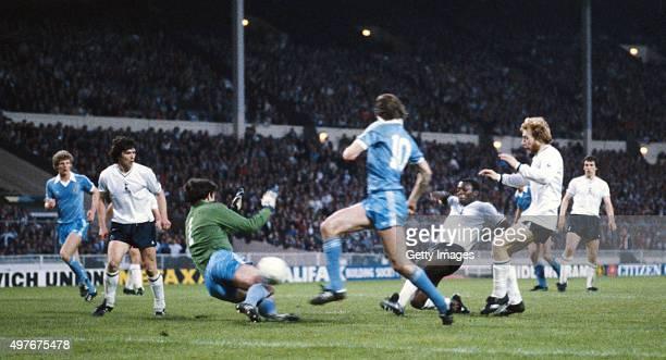 Spurs striker Garth Crooks scores the second goal past Man City goalkeeper Joe Corrigan during the 1981 FA Cup Final Replay between Tottenham Hotspur...