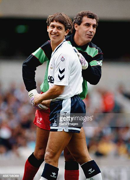 Spurs striker Gary Lineker shares a joke with Derby goalkeeper Peter Shilton during a League Division One match between Tottenham Hotspur and Derby...