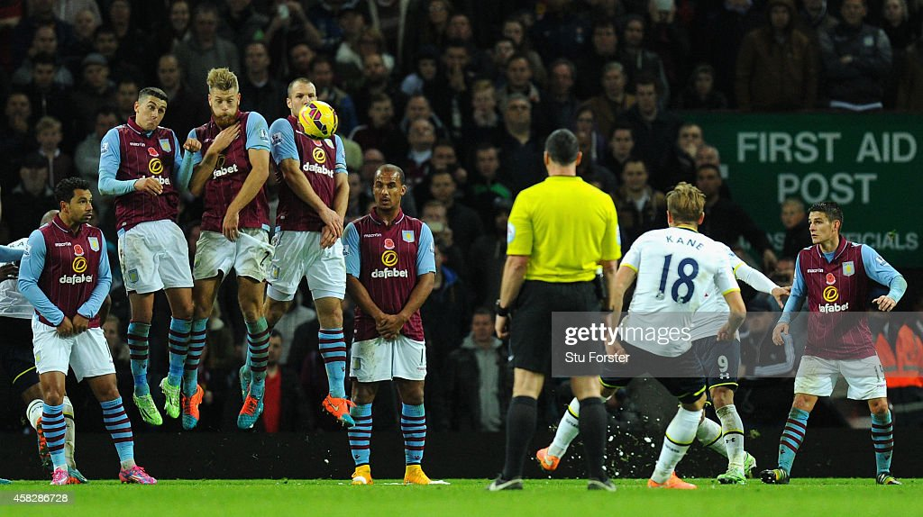 Spurs striker Harry Kane (18) strikes the second goal from a free kick during the Barclays Premier League match between Aston Villa and Tottenham Hotspur at Villa Park on November 2, 2014 in Birmingham, England.
