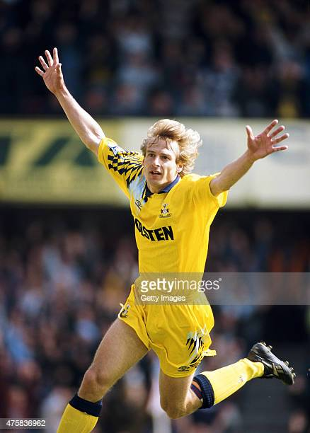 Spurs striker Jurgen Klinsmann celebrates after scoring the second goal during the FA Premiership match between Southampton and Tottenham Hotspur at...
