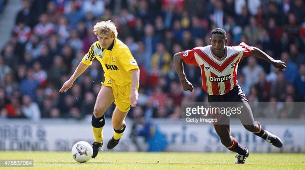 Spurs striker Jurgen Klinsmann outpaces Ken Monkou during the FA Premiership match between Southampton and Tottenham Hotspur at the Dell on April 2,...
