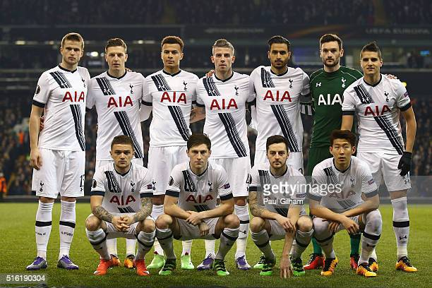 Spurs team line up prior to the UEFA Europa League round of 16 second leg match between Tottenham Hotspur and Borussia Dortmund at White Hart Lane on...