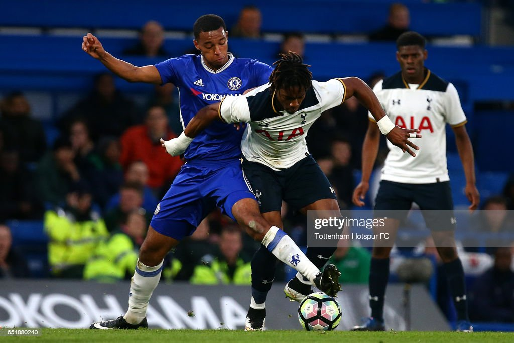Spurs Zazaiah Sterling battles for the ball with Chelsea's Joshua Grant during the FA Youth Cup Semi Final Second Leg between Chelsea and Tottenham Hotspur at Stamford Bridge on March 18, 2017 in London, England.
