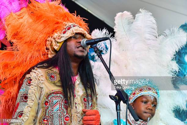 Spy Boy Jwan Boudreaux and Naquan Pleasant of the Golden Eagles Mardi Gras Indians perform during the 2019 New Orleans Jazz & Heritage Festival 50th...
