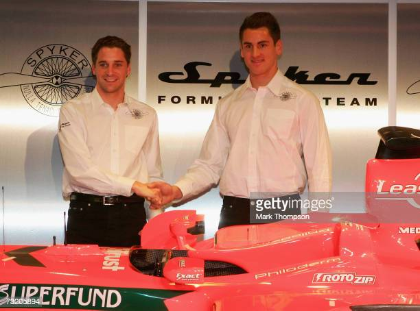 Spyker F1 drivers Adrian Sutil of Germany and Christijan Albers of the Nederlands at the launch of the new Spyker F8 VII,at the Silverstone circuit...