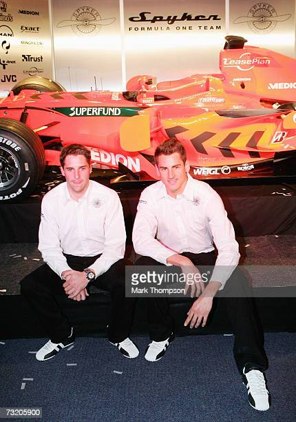 Spyker F1 drivers Adrian Sutil of Germany and Christijan Albers of the Nederlands at the launch of the new Spyker F8 VIIat the Silverstone circuit on...