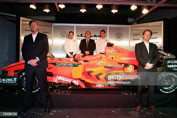 Spyker F1 drivers Adrian Sutil of Germany and Christijan Albers of the Nederlands CEO and Victor Muller owner of Spyker cars at the launch of the new...