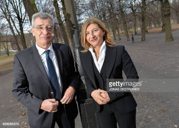 Spyridon Galinos mayor of Lesbos and Giuseppina Nicolini mayor of Lampedusa and Linosa pose for a photo in Stockholm Sweden on January 30 2017...