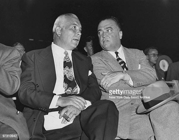 Spyros Skouras president of 20th Century with FBI director J Edgar Hoover at Yankee Stadium for the Louis vs Mauriello fight