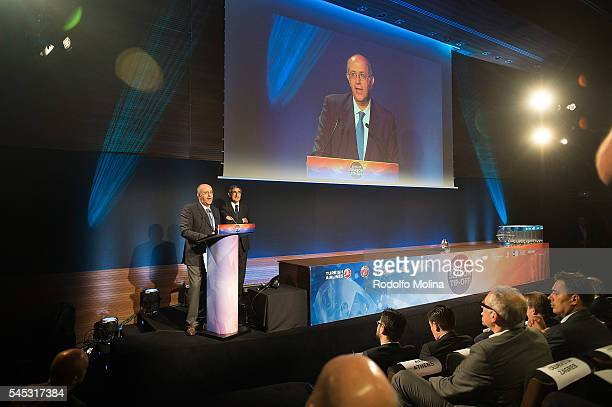Spyros Theodoropoulos CEO Chipita and Jordi bertomeu President and CEO of Euroleague Basketball during the Eurocup Basketball 20162017 Season Draw at...
