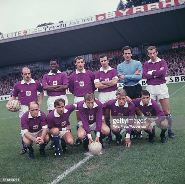 Squad and team members of Belgian football club RSC Anderlecht league champions of 196667 posed together at a football ground in Brussels Belgium on...