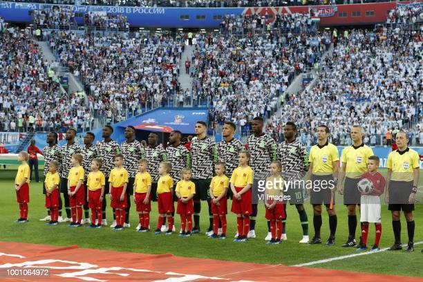 squad of Nigeria during the 2018 FIFA World Cup Russia group D match between Nigeria and Argentina at the Saint Petersburg Stadium on June 26 2018 in...