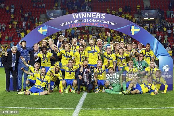 squad of Sweden with goalkeeper Patrik Carlgren of Sweden Victor Lindelof of Sweden Alexander Milosevic of Sweden Filip Helander of Sweden Ludwig...