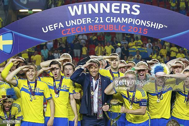 squad of Sweden with goalkeeper Patrik Carlgren of Sweden Victor Lindelof of Sweden Alexander Milosevic of Sweden Filip Helander of Sweden Ludwig...