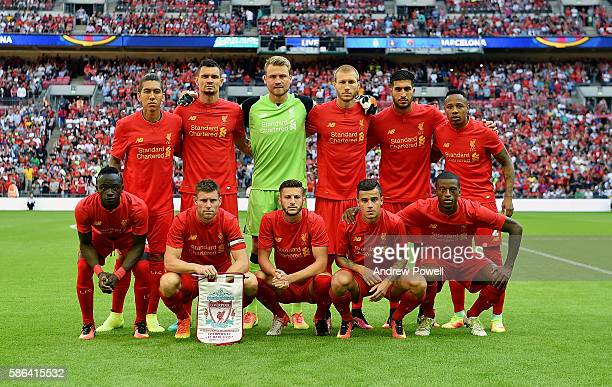 Squad photo of Liverpool before the International Champions Cup match between Liverpool and Barcelona at Wembley Stadium on August 6 2016 in London...