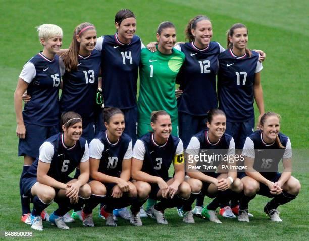 USA Squad Top row Megan Rapinoe Alex Morgan Abby Wambach Hope Solo Lauren Cheney Tobin Heath Bottom row Amy Le Peilbet Carli Lloyd Christie Rampone...