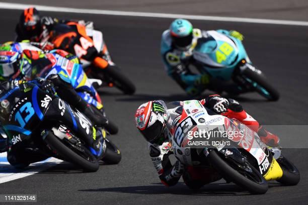 Squadra Corse's Italian rider Niccolo Antonelli rides during the last lap of the Moto3 race of the Spanish Grand Prix at the Jerez Angel Nieto...