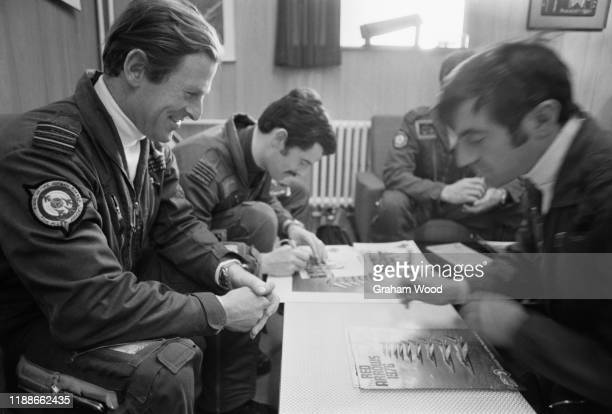 Squadron Leader Dickie Duckett Flight Lieutenant Mel Cornwell and Flight Lieutenant Dudley Carvell of the Red Arrows UK 30th April 1976