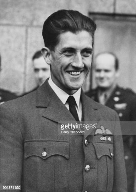 Squadron Leader Joseph Berry DFC and Bar of the RAF during an interview with the press at the Ministry of Information in London 8th September 1944...