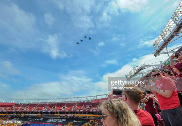 A squadron of F16's flies over FedEx Field in Landover MD on September 16 2018 The Indianapolis Colts defeated the Washington Redskins 219
