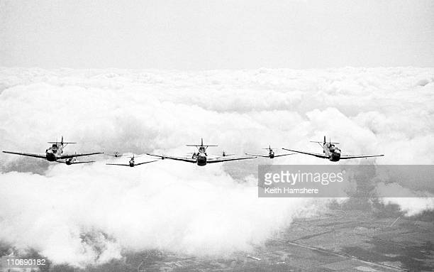 A squadron of Messerschmitt ME 109 fighters ready to attack during location filming for 'Battle Of Britain' directed by Guy Hamilton 1968 The...