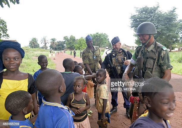 Squadron of the French National Gendarmerie of Versailles, incorparated in the 13th Battalion of Chasseurs Alpins , part of the Sangaris forces speak...