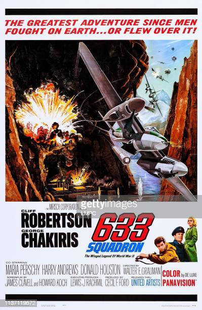 633 Squadron poster US poster bottom from left George Chakiris Cliff Robertson Maria Perschy 1964