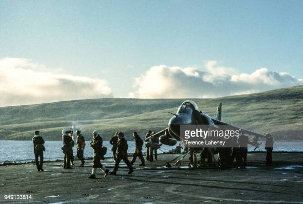 800 squadron Sea Harrier aircraft landing on HMS Fearless L10 during the Falklands War 1982 It was unable to land at the damaged Sheathbill air strip...