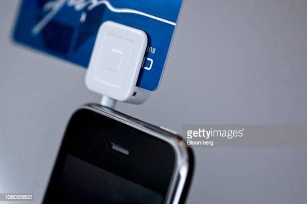 Square a credit card reader made for smartphones is plugged into an Apple Inc iPhone for a photograph in New York US on Monday Oct 25 2010 Square...